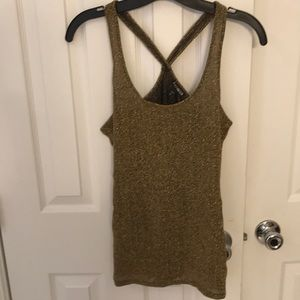 Express Brand Sheer Gold Tank Top